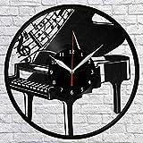 wwwff Disco de Vinilo de Piano Reloj de Pared Regalo decoración Creativa Fan Artista diseño de Arte único