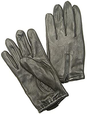 Napa Deerskin Zipper Backed Gloves with Cotton Fleece Lining
