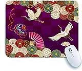 Marutuki Tapis de Souris de Jeu,Brown Kimono Cranes Handball Handball Fan et Chrysanthèmes Oiseau Coloré Traditionnel Japonais,pour Ordinateur de Bureau Ordinateur Portable,240 x 200 mm