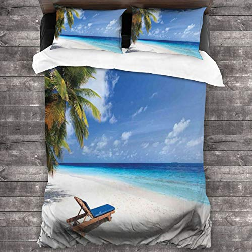 ZUL Duvet Cover Set,Tropical Beach Chair Sand Palm Trees Sunny Summer Exotic Travel Theme,Decorative 3 Piece Bedding Set with 2 Pillow Shams,220 * 260cm*1