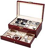 Inicio Accesorios Caja de madera para relojes con 6 ranuras Organizador de exhibición de joyas de 2 niveles Estuche para relojes con tapa de vidrio Soporte para relojes con almohadas extraíbles For