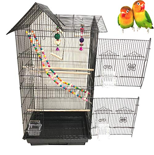 37-Inch Portable Hanging Medium Flight Bird Cage for Cockatiel Sun Quaker Parakeet Green Cheek Conure Parrotlet Finch Canary Budgie Lovebird Small Parrot Travel Bird Cage (Black with Toy)