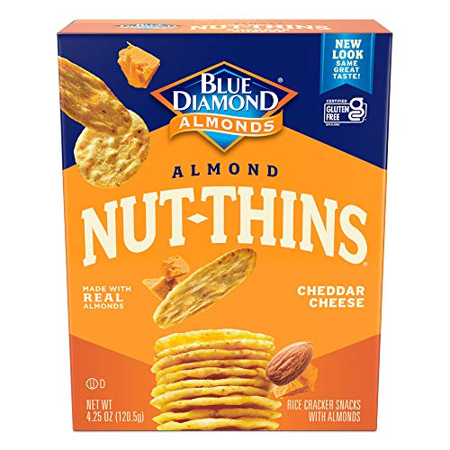 Blue Diamond Almonds Nut Thins Cheddar Cheese Gluten Free Cracker Crisps, 4.25 Oz Boxes (Pack of 6)