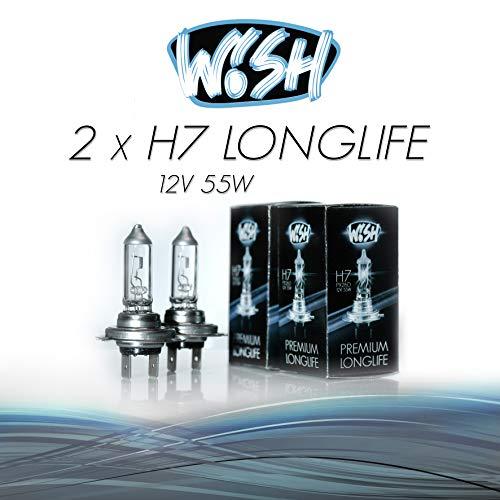 2x Wish® H7 LongLife 12V 55W PX26d Halogen Glühbirnen Lampen Scheinwerferlampen (Doppelpack)