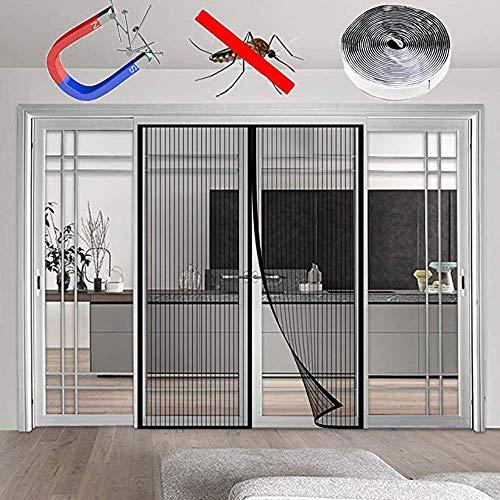 HXPH Keramikmagnet Balkon- und Terrassenschutz - Magnetische Vorhänge gegen Insekten, ideal für Balkontüren, Kellertüren und Terrassentüren (160 x 240 cm schwarz)