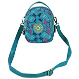 Cuddty Women Canvas Multi Pockets Crossbody Messenger Bag Fashion Printing Shoulder Bag Travel Shopping Bag Sling Bag Handbag Tote