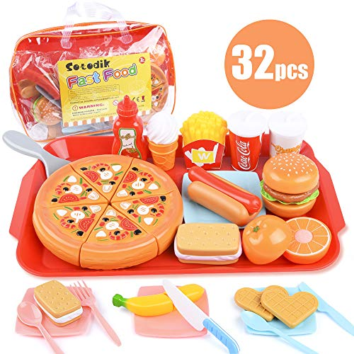 Sotodik 32PCS Gioca Food Finta Gioca Fast Food Giocattoli Set Taglio Pizza Hamburger Frutta Playset per Bambini Ragazzi Ragazzi Ragazze Giocattoli (Single Tray)