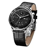 FEICE Men's Mechanical Watch Bauhaus Automatic Watch Stainless Steel Self-Winding Wrist Watches Casual Dress Watches for Men with Leather Bands Date Calendar -FM121 (Black-1)