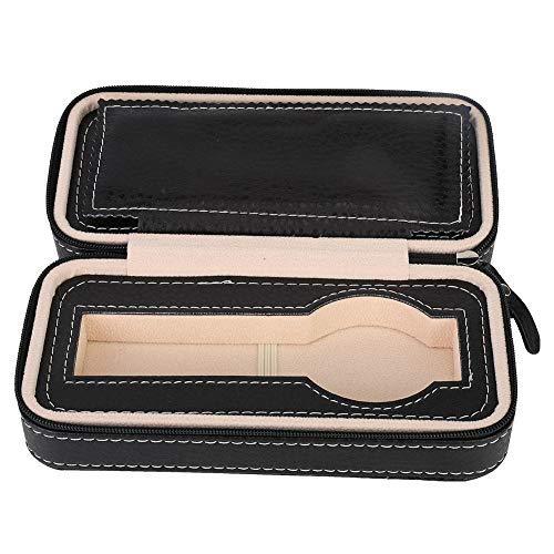 Caja de Almacenamiento de Reloj Negro, Estuche portátil con Cremallera para Reloj de Viaje, Organizador de exhibición de joyería de 2 Rejillas Estuche de Cuero de PU Hombres Mujeres