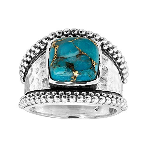Silpada 'Sky City' Compressed Copper Turquoise Ring in Beaded Sterling Silver, Size 11