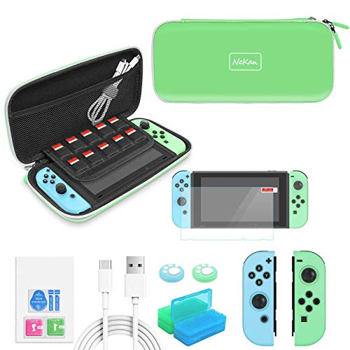 Accesorios para Nintendo Switch 12 en 1 Estuche estilo Forest para Nintendo Switch Accesorios con tapas de agarre para Joy Con, películas protectoras de vidrio templado, caja de tarjeta de juego