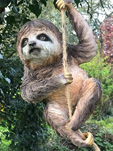 Animal Crackers Large climbing Sloth on rope tree garden ornament decoration Sloth lover gift