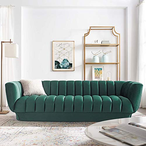 Modway Entertain Vertical Channel Tufted Performance Velvet Sofa Couch in Green