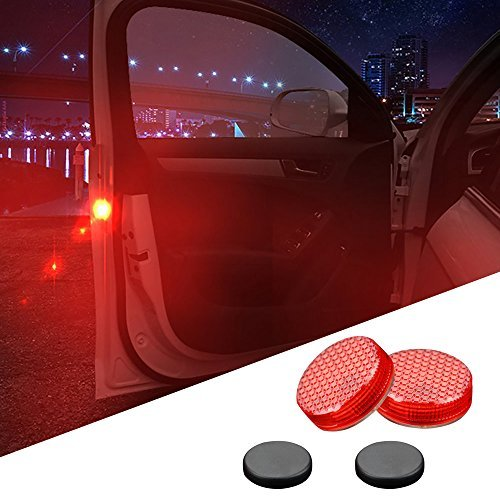 Car Door Warning Safety Lights Reflector LED Lamps Magnetic Waterproof Wireless Universal Red Flash Proximity System Instant Switch On Off Anti Collision Dash Emergency Hazard 2pcs?1797?