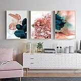 Refosian Pink Green Flower Leaf Poster Arte de la pared Pintura en lienzo Carteles abstractos e...