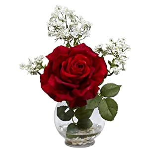 Nearly Natural 1282 Rose and Gypso with Fluted Vase Silk Flower Arrangement, Red,6.75″ x 6.75″ x 22.5″
