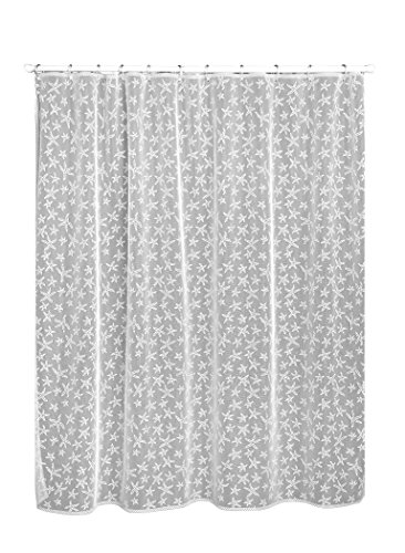Heritage Lace, White Starfish 72x72 Shower Curtain, 72 by 72-Inch