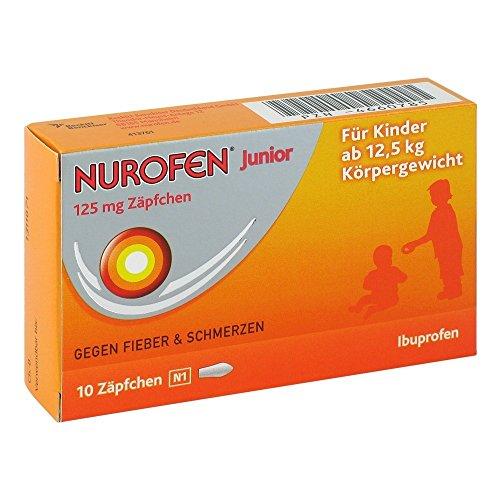 Nurofen Junior 125mg Zäpfchen – Mit Ibuprofen zur Linderung von Fieber und Schmerzen – Für Kinder ab 2 Jahren – 1 x Blisterpackung mit 10 Stück