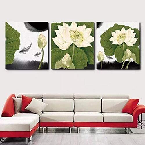 RuiChuangKeJi Lienzo Impreso 3 Piezas 40x40cm con Marco Flor Pared Arte Lienzo Moderno Pintura de Pared Moderna Flor de Loto Paisaje Pintura al óleo