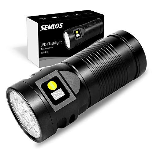 Semlos Linterna LED recargable a pilas, linterna superbrillante para iluminación interior y exterior, linterna de camping de alta potencia y 8 modos, pantalla de encendido