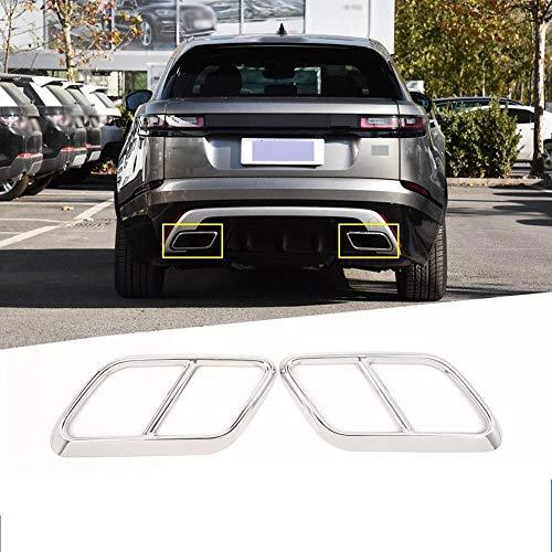 LQIAN 2 Stück Chrom-Edelstahl-Auto-Heck-Throat Auspuff-dekorative Feld-Trim Fit for Land Rover-Sterne-Schiff Auto-Zubehör Auto-Teile (Color Name : Silver)