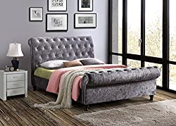 Elegant sleigh bedframe This frame has a sprung slatted base to give natural bounce, adjusting to where pressure is most exerted for greater comfort Cushioned style head and footboard Sprung slatted base for extra comfort UK fire retardant foam and c...