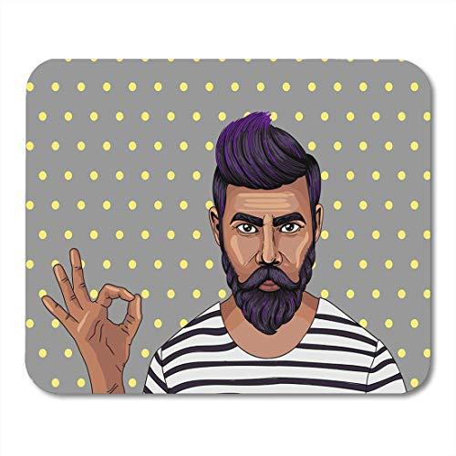 Alfombrilla para ratón con diseño de hombre hipster y barba de 25 x 30 cm