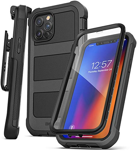 Encased BallisticShield Protective Case Designed for iPhone 12 Pro with Built-in Screen Protector (Military Grade Std. 810) Full-Body Cover with Belt Clip Holster (Black)