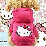 Ropa de Dibujos Animados para Mascotas, Lindo suéter con Capucha de Cachorro Polar de Invierno cálido Vestido de Fiesta Ropa con Capucha para Perros/Gatos - Hello Kitty, XL