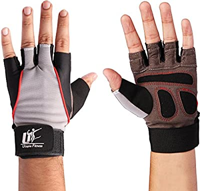 Training Gloves (Black) - 100% Leather and Spandex Material - Ideal for Gym - Workout - Weightlifting - Weight Training - Biking - Cycling - Perfect for Men and Women - by Utopia Fitness
