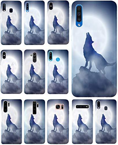 KUMO Hülle für Motorole One Hyper Handyhülle Design 1123 Wolf Mond Blau Weiß aus flexiblem Silikon SchutzHülle Softcase HandyCover Hülle für Motorole One Hyper