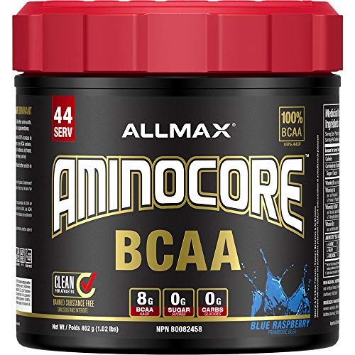 ALLMAX Nutrition AMINOCORE, Instantized BCAAs Intra-Workout Muscle Support, Blue Raspberry, 1.02 lbs (462 g)