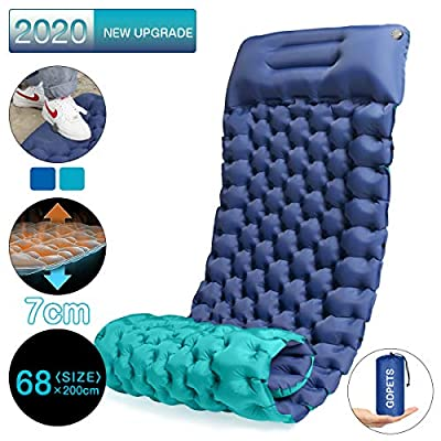 Camping Air Sleeping Pad, 2020 New Upgrade Double-Side Color Foot Press Inflatable Lightweight Backpacking Pad for Hiking Traveling, Durable Waterproof Camping Air Mattress