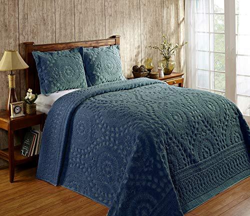 Better Trends Die Rio Kollektion ist super weich & leicht im floralen Design, 100 prozent Baumwolle, getuftet, einzigartig, luxuriös, maschinenwaschbar, trocknergeeignet, Queensize-Tagesdecke, Blaugrün
