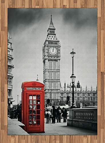 ABAKUHAUS Londres Alfombra de Área, Cabina Telefónica Famosa y Big Ben en Inglaterra Vista Urbana Símbolos Ciudad Retro, con Estampa Digital Ideal para Sala de Estar o Dormitorio, 160 x 230 cm, Gris