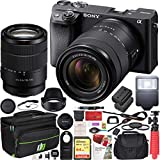 Sony a6400 4K Mirrorless Camera ILCE-6400M/B with 18-135mm F3.5-5.6 OSS Zoom Lens Kit and Deco Gear Travel Case Filter Set Extra Battery Remote & Flash Bundle