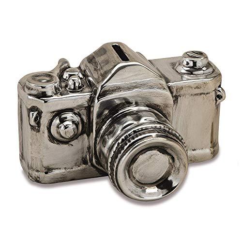 G. Wurm Spardose Kamera in Silber aus Keramik, B16 x T12 x H10 cm