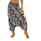 chuangminghangqi Pantaloni Harem Pantaloni Donna Estivi Pantaloni da Yoga Cavallo alla Turca Hippie Indiani Harem Pants Larghi Casual Spiaggia (Nero-009, Taglia Unica)