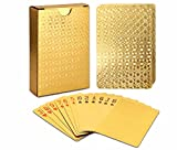 EAY Gold Waterproof Playing Cards, Gold Deck of Cards, Poker Cards, Gold Playing Cards, Washable & Flexible, High-Grade Plastic Material, Use for Party and Game