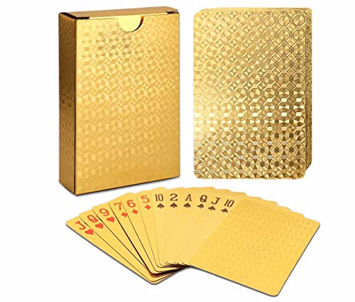 EAY Playing Cards Gold Deck of Cards Poker Cards Waterproof Playing Cards Plastic Playing Cards Use for Party and Game