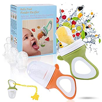 Baby Fruit Feeder Pacifier - Baby Food Feeder Fresh Food Feeder Infant Fruit Teething Toy 2 Pack with 6 Silicone Sac and 1 Pacifier Clip  Army Green & Orange