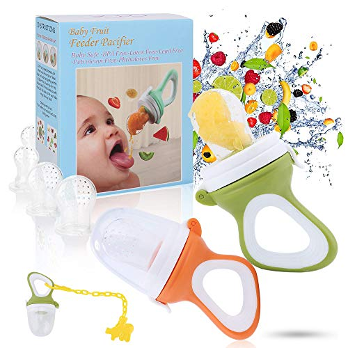Baby Fruit Feeder Pacifier - Baby Food Feeder - Fresh Food Feeder - Infant Fruit Teething Toy, 2 Pack with 6 Silicone Sac and 1 Pacifier Clip (Army Green & Orange)