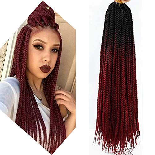6 Packs Box Braids Crochet Hair Crochet Box Braids Kanekalon Synthetic Hair Crotchet Box Braids Hair 22 Inch