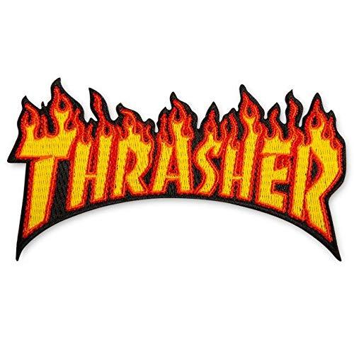 THRASHER Skateboard Magazine Patch Flame Logo Yellow 2' x 4.5'