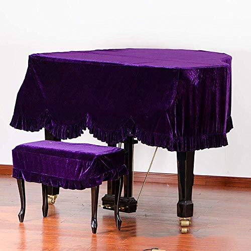 Grand Piano Cover, Classic Premium Samt Möbel Staubschutz Handgemachte Plissee Trim Standard-Klavier-Abdeckung Hauptdekoration, (Verschiedene Größen) ( Color : Purple , Size : 200cm+Single Stool )