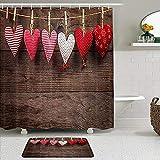 PUNKDBOTTO Duschvorhang-Set mit rutschfesten Teppichen, Badezimmermatten & 12 Haken, Vichy-Karo, Naturkordel, zum Aufhängen an rustikalem Holz, 2 Stück