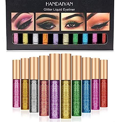 10 pièces / ensemble Sexy femmes paillettes yeux maquillage doublure facile à porter imperméable pigmenté rouge blanc or liquide eyeliner paillettes maquillage