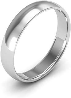18K White Gold men's and women's plain wedding bands 4mm comfort-fit light