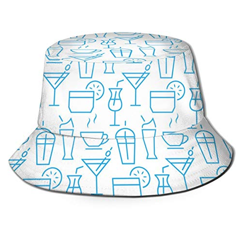 Seamless Pattern with Icons Drink Items Vector ImageSunscreenAnti-UvUnisexSuitable For All SeasonsFisherman'S Hat