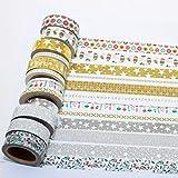 K-LIMIT 12er Set Washi Tape Dekoband Masking Tape Klebeband Scrapbooking DIY Weihnachten Merry Christmas Glitter Gold Rot 9145